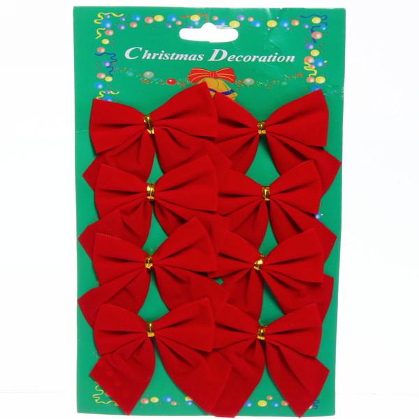Украшение новогоднее Бантик 'Красный Бархат' 6,5см (набор 8 шт)
