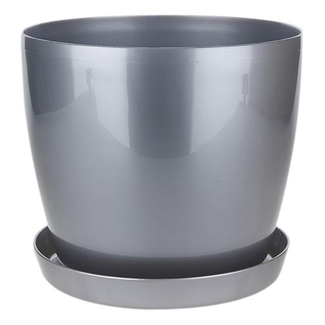 Кашпо пластиковый для цветов МАГНОЛИЯ 14,7л Антрацит 300*265мм п/д7