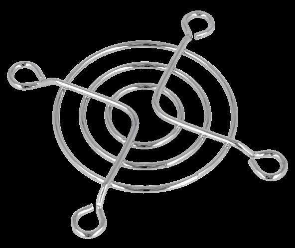 Решетка для вентилятора 50*50мм (3 кольца, 4 отв, метал, хром) FG-05