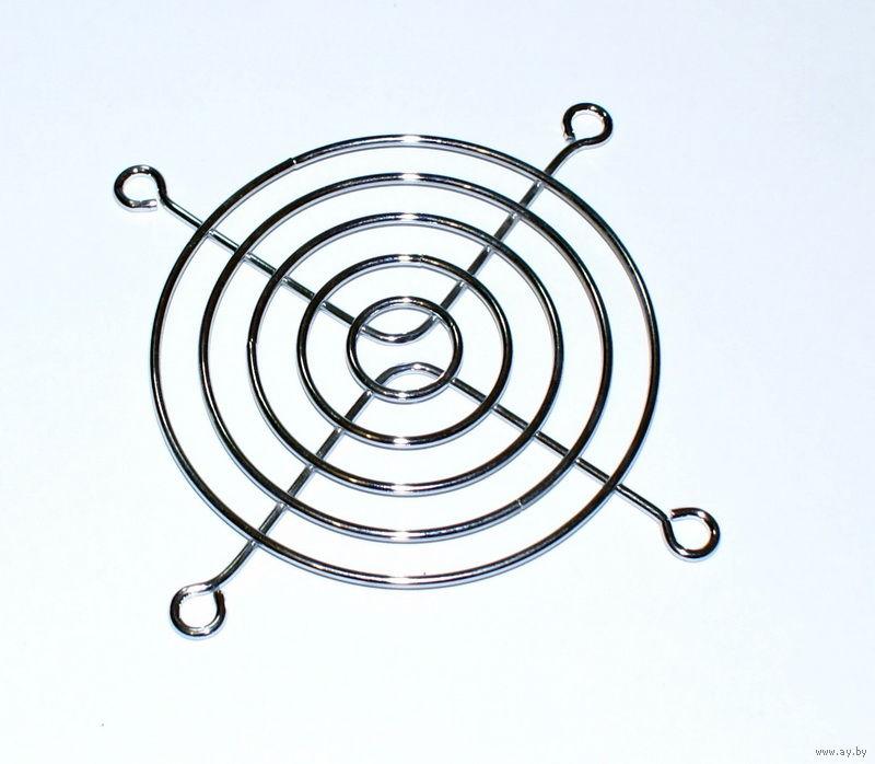Решетка для вентилятора 80*80мм (5 колец, 4 отв, метал, хром)