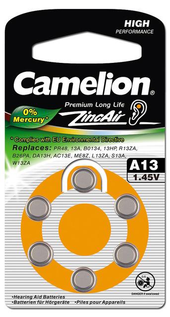 Элемент питания Camelion ZA13 (G5) 1,4V для слуховых апаратов 280mAh, 0%Hg 1шт