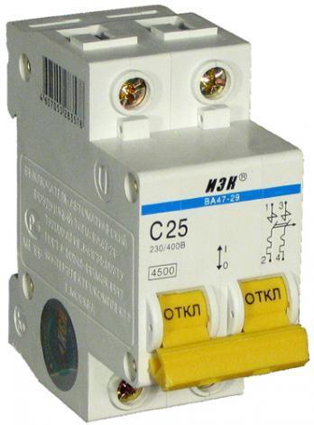 Автоматический выключатель 2Р 25А ВА47-29 'ИЭК'