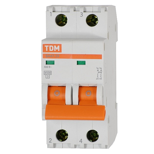 Автоматический выключатель 2Р 16А ВА47-63 4,5кА х-ка С TDM