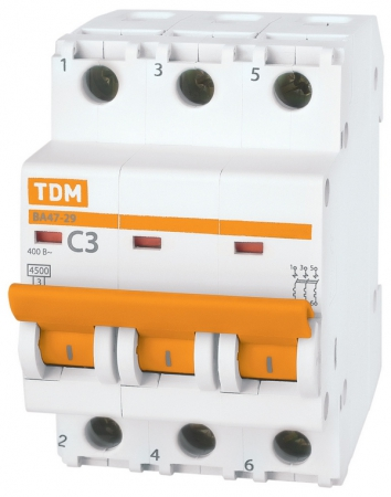 Автоматический выключатель 3Р 25А ВА47-29 4,5кА х-ка С TDM