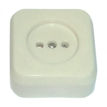 Розетка 1-гн о/у РА10-007 квадрат пружинная керамика белая