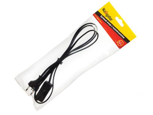 Шнур для бра Navigator NPS-FS-170 2*0,5мм 61720 черный 1,7м с выкл.