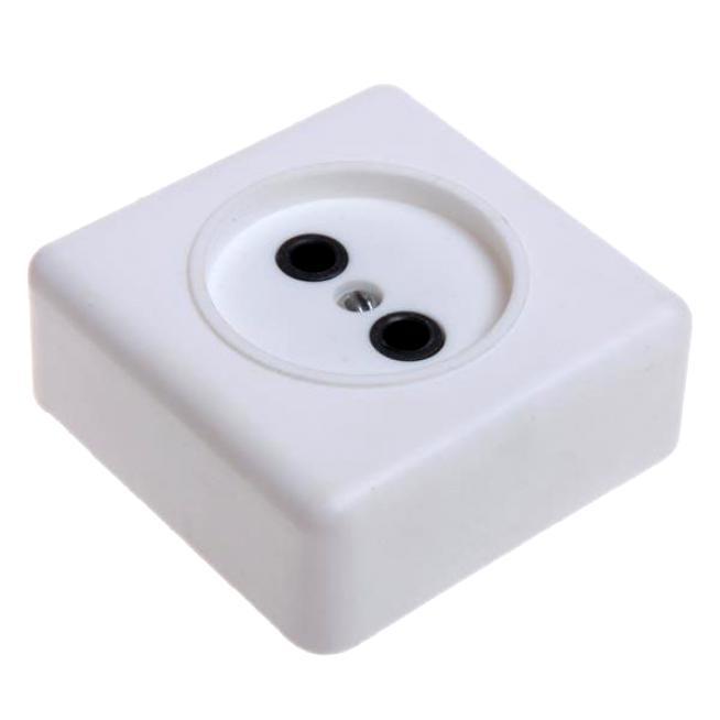 Розетка 1-гн о/у РА10-007 квадратная пружинная карболит белая