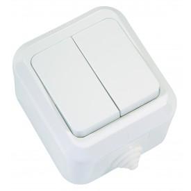 Выключатель 2-кл о/у Makel белый п/гермет.