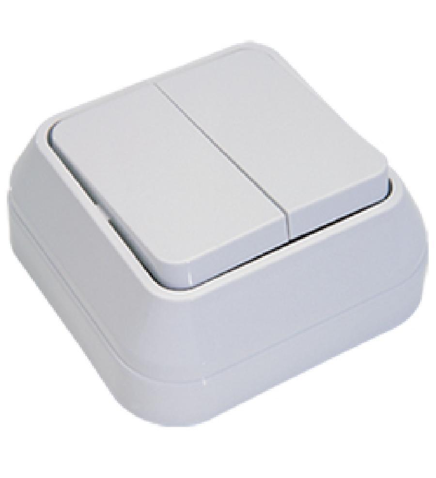 Выключатель 2-кл о/у Makel белый