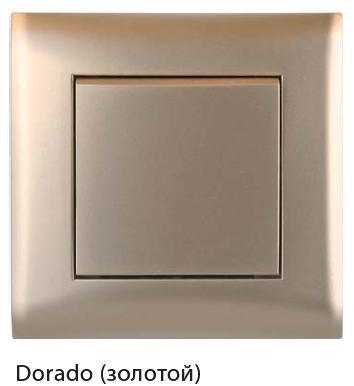 Выключатель 1-кл с/у Volsten V01-16-V11-M (золото)