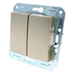 Выключатель 2-кл с/у Volsten  V01-16-V21-M (золото)