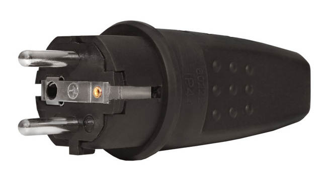 Вилка з/к евро Универсал прямая каучук 16А 250В IP44 (еврослот)